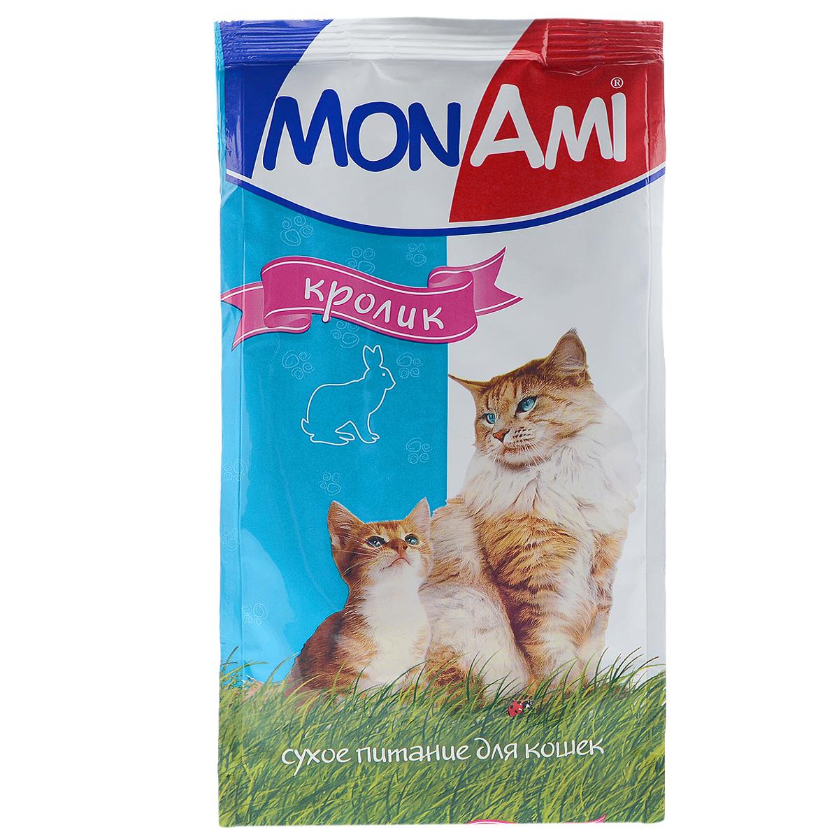 Корм сухой для кошек Mon Ami, с мясом кролика, 400 г14133Сухой корм для кошек Mon Ami - это полноценное сбалансированное питание для кошек, разработанное с использованием современных технологий. Особенности рациона: Необходимое сочетание ингредиентов для достижения правильной усвояемости питательных веществ организмом. Источник линолевой кислоты и правильного уровня витаминов группы В благотворно влияют на кожу и шерсть. Таурин - для здоровья глаз и сердца. Состав: злаки (пшеница, рис), экстракт белка растительного происхождения, мясо и продукты животного происхождения (в т.ч. кролик), подсолнечное масло, минеральные добавки, гидролизованная печень, пульпа сахарной свеклы (жом), витамины, пивные дрожжи, таурин, антиоксидант. Анализ: сырой протеин 30%, сырой жир 10%, сырая зола 7%, сырая клетчатка 2,5%, влажность 10%, фосфор 0,9%, кальций 1,05%, витамин А 5000 МЕ/кг, витамин Д 500 МЕ/кг, витамин Е 30 мг/кг. Энергетическая ценность: 333 ккал/100 г. Товар сертифицирован.