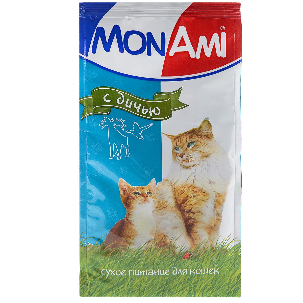 Корм сухой для кошек Mon Ami, с дичью, 400 г59312Сухой корм для кошек Mon Ami - это полноценное сбалансированное питание для кошек, разработанное с использованием современных технологий. Особенности рациона: Необходимое сочетание ингредиентов для достижения правильной усвояемости питательных веществ организмом. Источник линолевой кислоты и правильного уровня витаминов группы В благотворно влияют на кожу и шерсть. Состав: злаки, экстракт белка растительного происхождения, мясо и мясопродукты (в т.ч. дичь), подсолнечное масло, минеральные добавки, пульпа сахарной свеклы (жом), витамины, пивные дрожжи, антиоксидант. Анализ: сырой протеин 30%, сырой жир 10%, сырая зола 7%, сырая клетчатка 2,5%, влажность 10%, фосфор 0,9%, кальций 1,05%, витамин А 5000 МЕ/кг, витамин Д 500 МЕ/кг, витамин Е 30 мг/кг. Энергетическая ценность: 333 ккал/100 г. Товар сертифицирован.