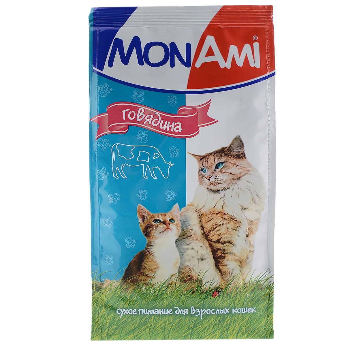 Корм сухой для кошек Mon Ami, с мясом говядины, 400 г55290Сухой корм для кошек Mon Ami - это полноценное сбалансированное питание для кошек, разработанное с использованием современных технологий. Особенности рациона: Необходимое сочетание ингредиентов для достижения правильной усвояемости питательных веществ организмом. Источник линолевой кислоты и правильного уровня витаминов группы В благотворно влияют на кожу и шерсть. Таурин - для здоровья глаз и сердца. Состав: злаки (пшеница, рис), экстракт белка растительного происхождения, мясо и мясопродукты (в т.ч. говядина-печень), подсолнечное масло, минеральные добавки, гидролизованная печень, пульпа сахарной свеклы (жом), витамины, пивные дрожжи, антиоксидант. Анализ: сырой протеин 30%, сырой жир 10%, сырая зола 7%, сырая клетчатка 2,5%, влажность 10%, фосфор 0,9%, кальций 1,05%, витамин А 5000 МЕ/кг, витамин Д 500 МЕ/кг, витамин Е 30 мг/кг. Энергетическая ценность: 333 ккал/100 г. Товар сертифицирован.