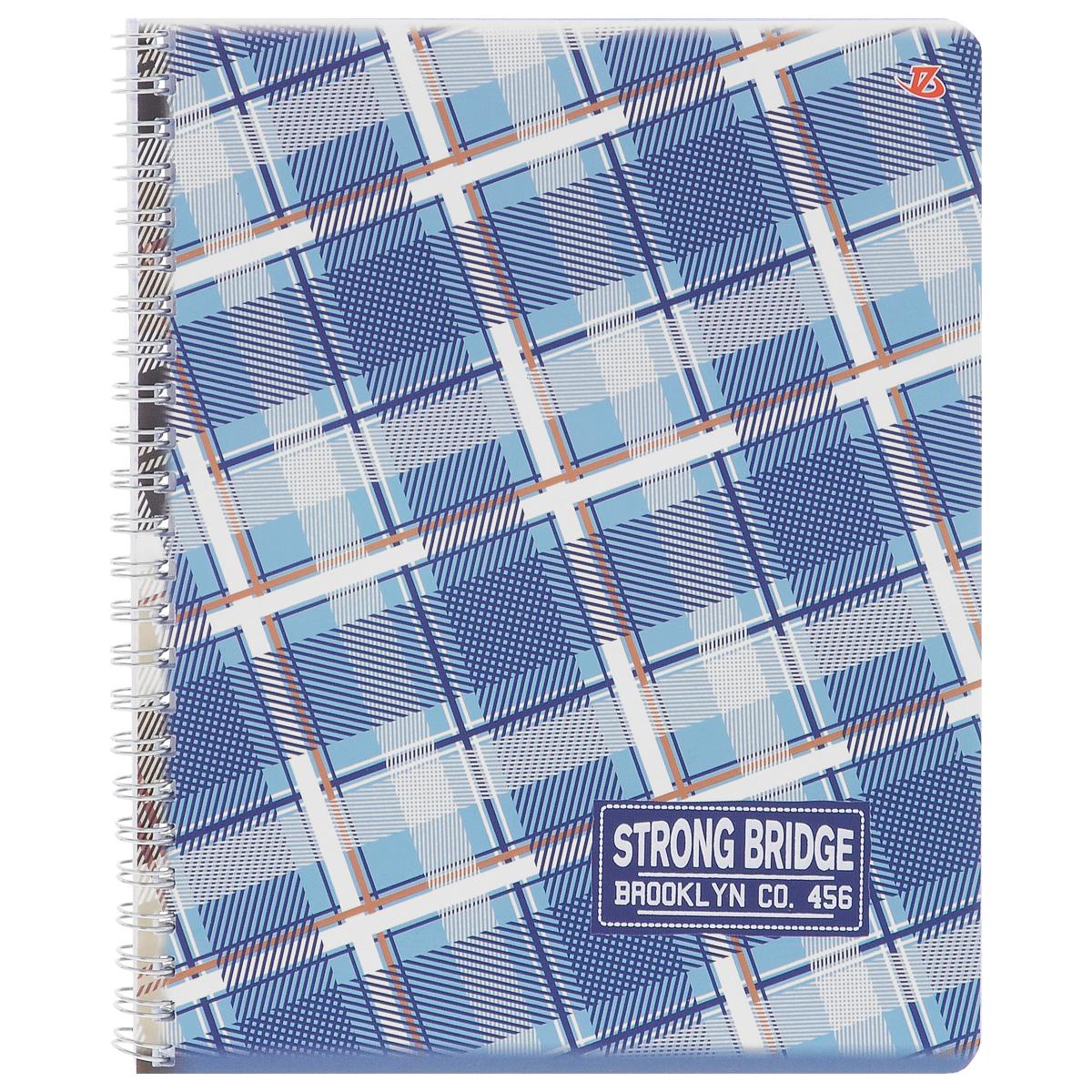 Тетрадь в клетку Strong Bridge, цвет: синий, голубой, бежевый, 60 листов. 6658/36658/3_сине-голубойТетрадь Strong Bridge подойдет для любых работ и студенту, и школьнику. Фактурная обложка тетради с элементами серебряного тиснения выполнена из мелованного картона с закругленными углами. Внутренний блок тетради соединен металлической пружиной и состоит из 60 листов высококачественной бумаги повышенной белизны.