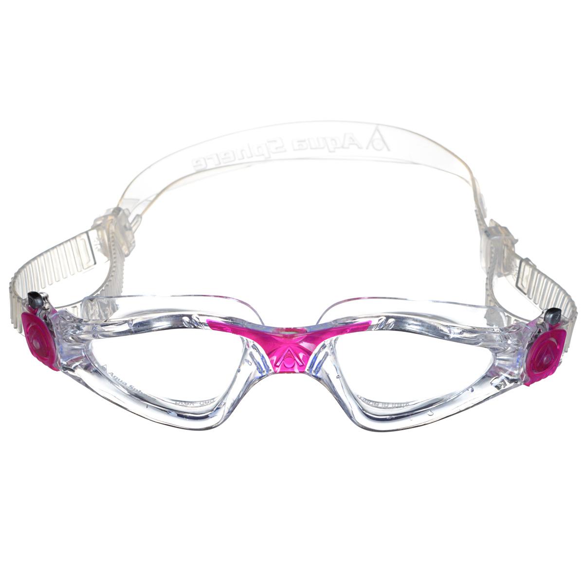 Очки для плавания Aqua Sphere Kayenne Lady, цвет: прозрачный, розовыйTN 170910Модные и стильные очки для плавания Aqua Sphere Kayenne Lady идеально подходят для плавания в бассейне или открытой воде. Оснащены линзами с антизапотевающим покрытием, которые устойчивы к появлению царапин. Мягкий комфортный обтюратор плотно прилегает к лицу. Запатентованные изогнутые линзы дают прекрасный обзор на 180° - без искажений. Рамка имеет гидродинамическую форму. Очки оснащены удобными быстрорегулируемыми пряжками. Материал: софтерил, plexisol.