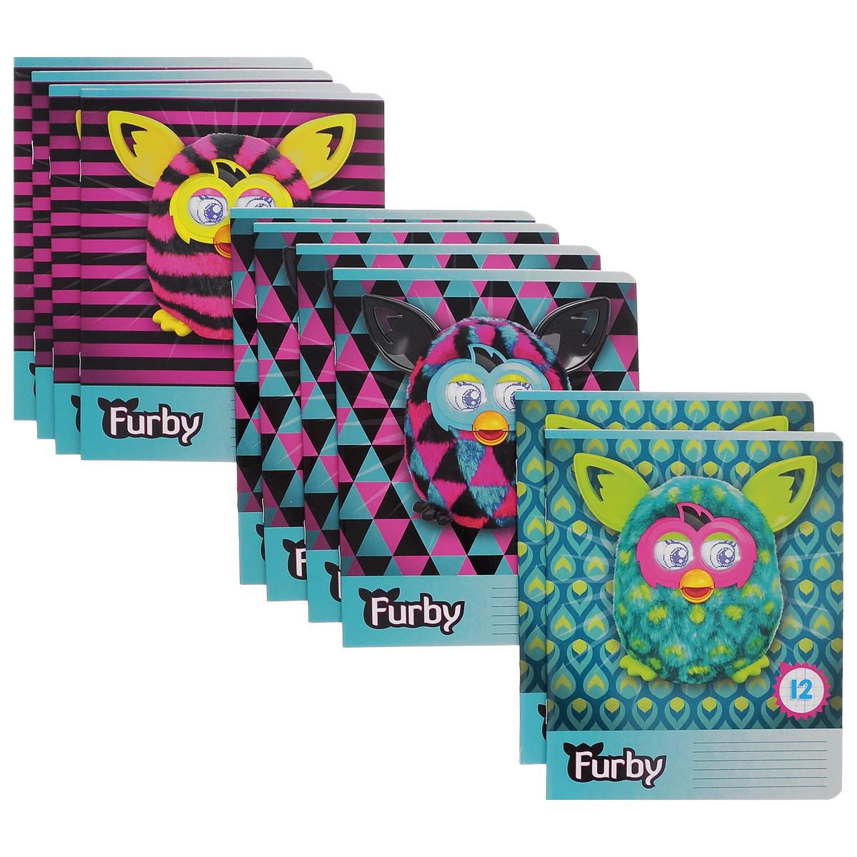 Набор тетрадей в клетку Furby, цвет: фиолетовый, бирюзовый, 12 листов, 10 шт. FB39/5FB39/5_Вид 2Комплект тетрадей Furby включает в себя 10 тетрадей в линейку по 12 листов. Обложка каждой тетради оформлена изображением игрушек Furby. На задней обложке каждой тетради представлена таблица умножения. Внутренний блок тетрадей состоит из 12 листов белой бумаги, соединенных скрепками. Стандартная линовка в клетку дополнена полями, совпадающими с лицевой и оборотной стороны листа. В наборе представлены тетради с тремя вариантами изображений Furby.