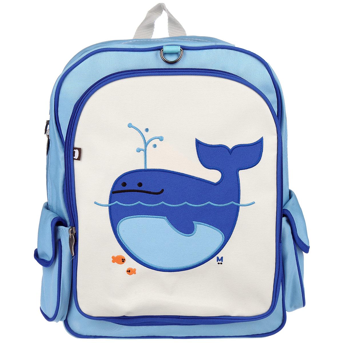 Рюкзак Beatrix Lucas-Whale, цвет: голубой, синий, молочныйAP-1815WРюкзак Beatrix Lucas-Whale обязательно привлечет внимание вашего ребенка. Выполнен из прочного и высококачественного материала голубого, синего и молочного цветов и оформлен аппликацией с изображением кита. Рюкзак состоит из вместительного отделения, закрывающегося на застежку-молнию с двумя бегунками. Бегунки застежки дополнены металлическими держателями. Внутри отделения находится нашивной карман на застежке-молнии. На задней стенке рюкзака имеется нашивка, на которой можно указать данные владельца. Лицевая сторона оснащена накладным карманом на молнии. Рюкзак имеет два накладных боковых кармана на липучке. Мягкие широкие лямки позволяют легко и быстро отрегулировать рюкзак в соответствии с ростом. Рюкзак оснащен удобной текстильной ручкой для переноски в руке. Этот рюкзак можно использовать для повседневных прогулок, отдыха и спорта, а также как элемент вашего имиджа.