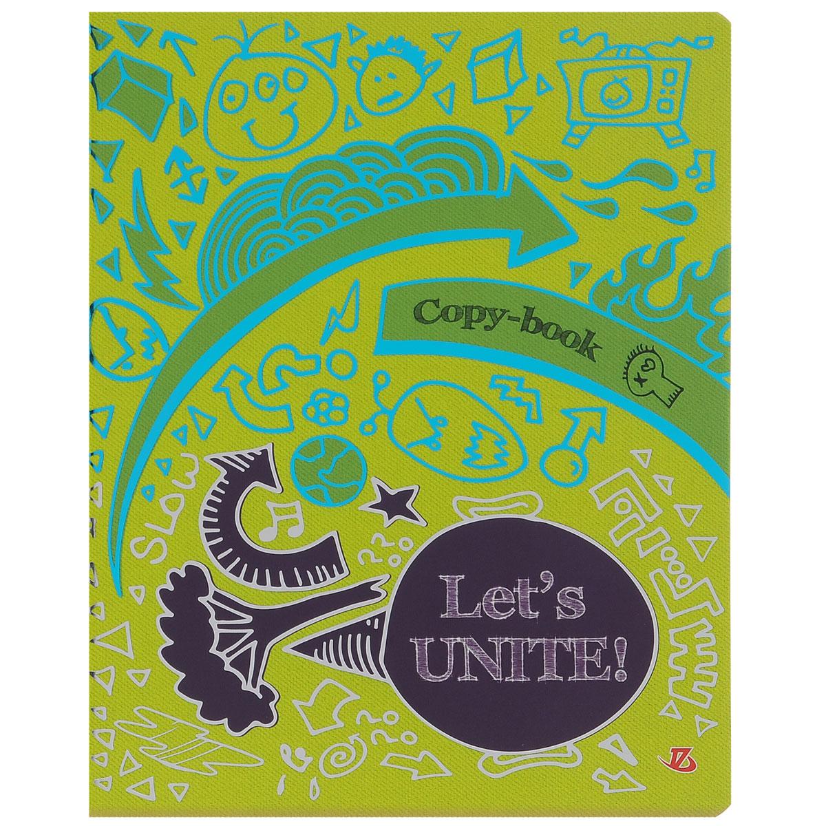 Тетрадь Lets unite, 48 листов, формат А5, цвет: бирюзовый, фиолетовый7222/5_Вид 2Тетрадь в клетку Lets unite подойдет как студенту, так и школьнику. Обложка тетради выполнена из картона и украшена ярким изображением с серебряным и бирюзовым теснением. Внутренний блок состоит из 48 листов офсетной бумаги, способ крепления - скрепка. Линовка листов стандартная - в клетку. Внутри содержатся страничка для заполнения личных данных.