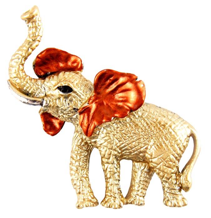 """Брошь """"Слон с поднятым хоботом"""". Бижутерный сплав, австрийский кристалл. Конец XX века"""