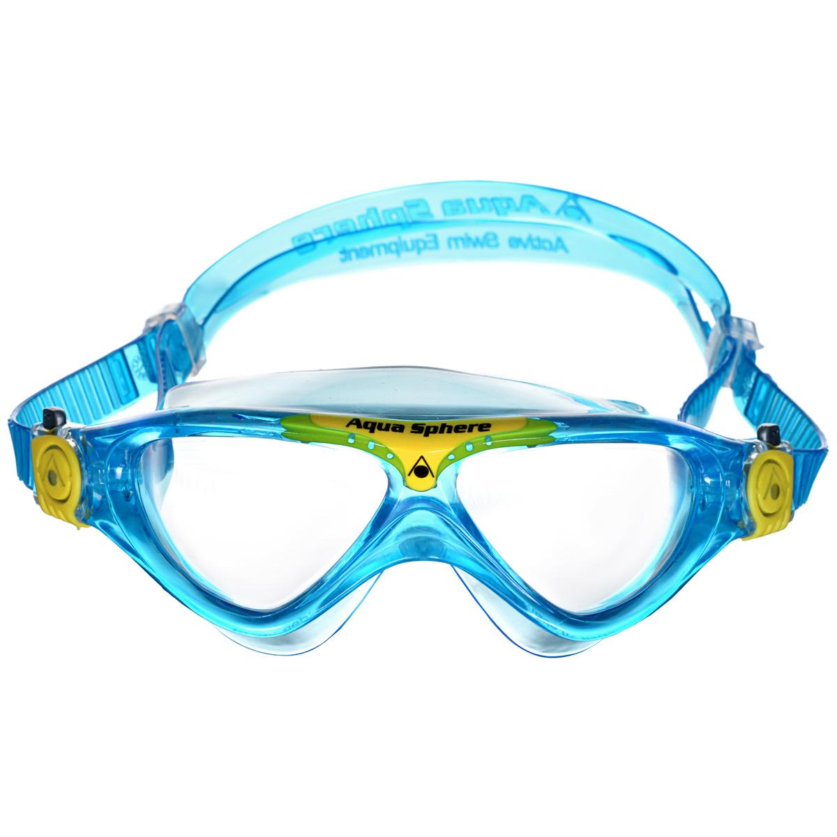 Очки для плавания Aqua Sphere Vista Junior, цвет: аквамарин, желтыйTN 169760Модные и стильные очки для плавания Aqua Sphere Vista Junior идеально подходят для плавания в бассейне или открытой воде. Оснащены линзами с антизапотевающим покрытием, которые устойчивы к появлению царапин. Мягкий комфортный обтюратор плотно прилегает к лицу. Запатентованные изогнутые линзы дают прекрасный обзор на 180° - без искажений. Очки дают 100% защиту от ультрафиолетового излучения спектра А и спектра В. Материал: плексисол, силикон.