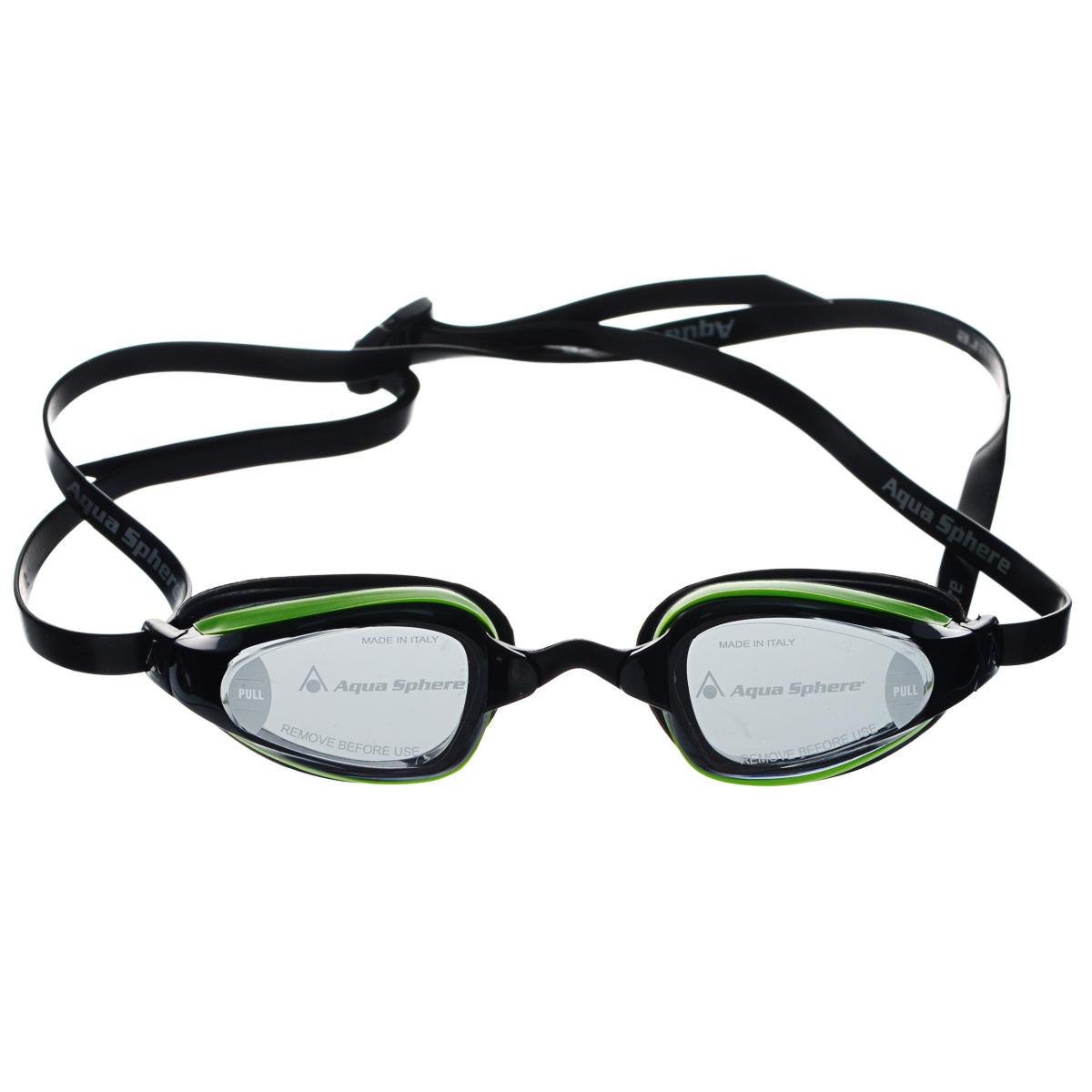 Очки для плавания Aqua Sphere K180+, цвет: зеленый, черныйTN 173070Очки для плавания Aqua Sphere K180+ спроектированы специально для тренировок на открытой воде и соревнований. Плотное прилегание к лицу обеспечивает хорошую обтекаемость и скорость движения. Благодаря сменным перемычкам можно менять расстояние между линзами. Запатентованные изогнутые линзы дают прекрасный обзор на 180° - без искажений. Очки дают 100% защиту от ультрафиолетового излучения. В комплекте 3 сменных перемычки.