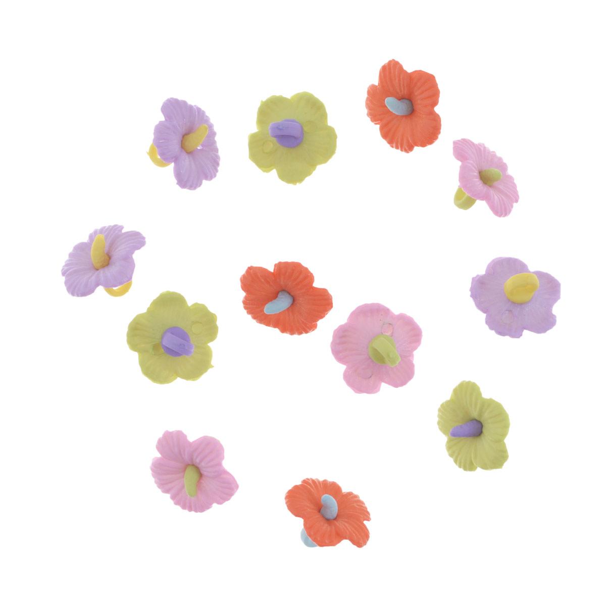 Пуговицы декоративные Buttons Galore & More Hawaiian Flowers, 12 шт7705952Набор Buttons Galore & More Hawaiian Flowers состоит из 12 декоративных пуговиц на ножке. Все элементы выполнены из пластика в форме цветов. Такие пуговицы подходят для любых видов творчества: скрапбукинга, декорирования, шитья, изготовления кукол, а также для оформления одежды. С их помощью вы сможете украсить открытку, фотографию, альбом, подарок и другие предметы ручной работы. Пуговицы разных цветов имеют оригинальный и яркий дизайн.