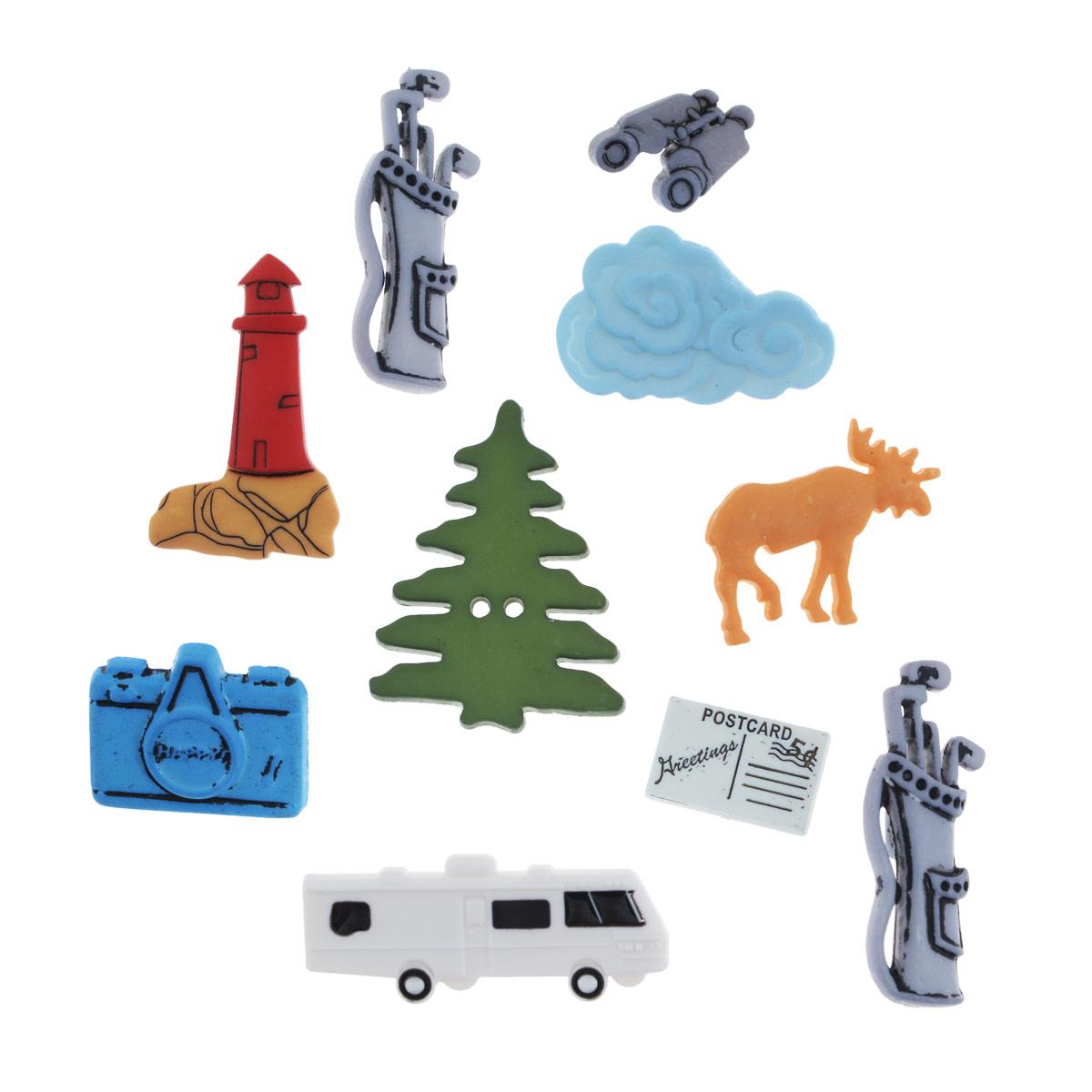 Набор пуговиц и фигурок Buttons Galore & More On the Road, 10 шт7705918Набор Buttons Galore & More On the Road состоит из 9 декоративных пуговиц и 1 декоративного элемента, который можно приклеить. Все элементы выполнены из пластика в форме разнообразных фигур. Такие пуговицы подходят для любых видов творчества: скрапбукинга, декорирования, шитья, изготовления кукол, а также для оформления одежды. С их помощью вы сможете украсить открытку, фотографию, альбом, подарок и другие предметы ручной работы. Пуговицы разных цветов имеют оригинальный и яркий дизайн. Средний размер элемента: 3,5 см х 2,3 см х 0,5 см.