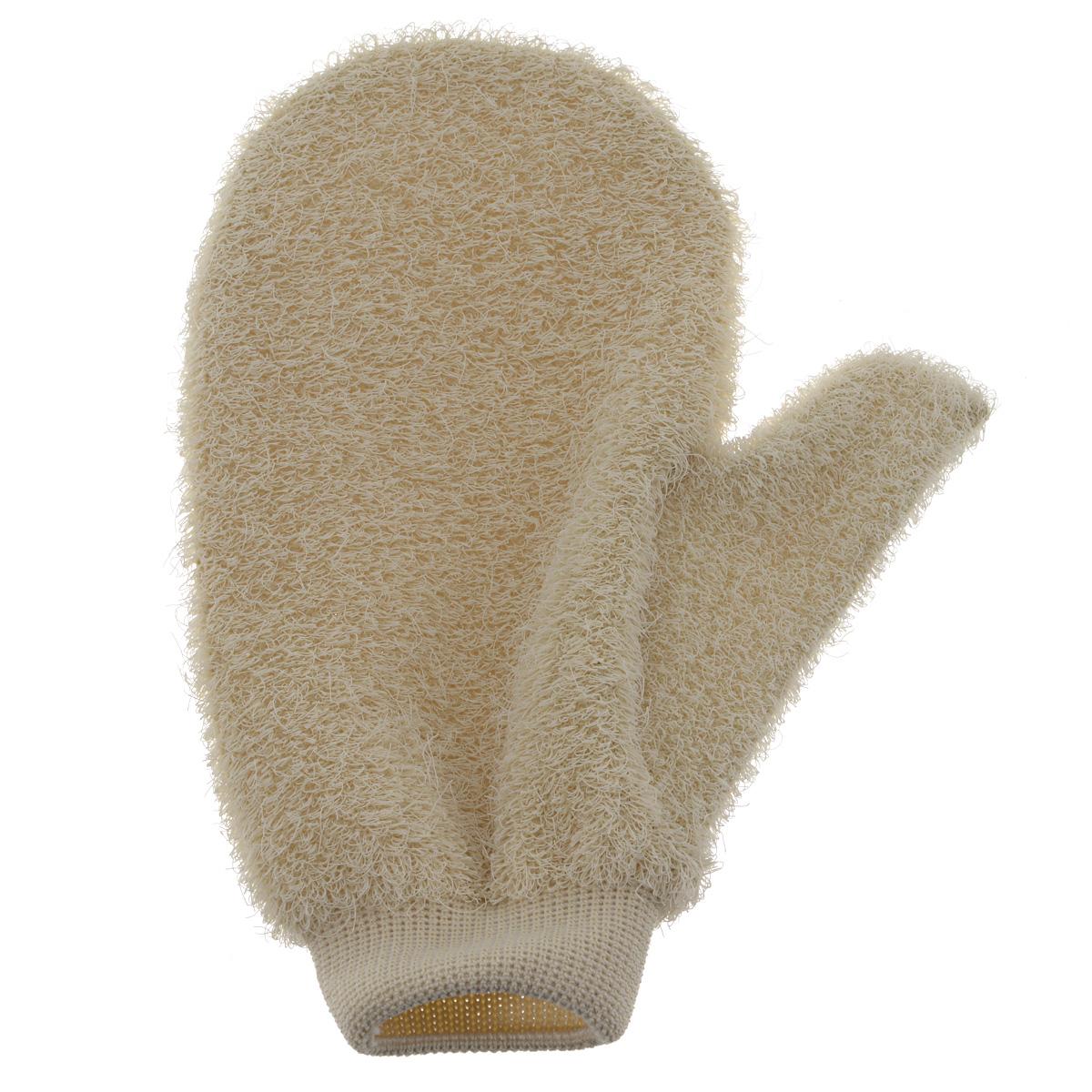 Riffi Мочалка-рукавица массажная, жесткая, бежевый 750_бежевый