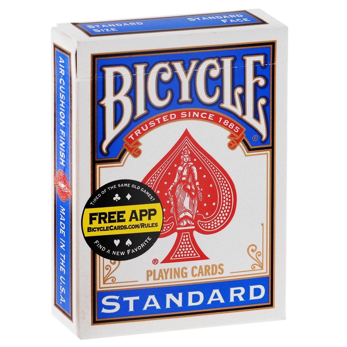Карты для фокусов Bicycle с двойной рубашкой, цвет: синий, 56 штК-031Карты для фокусов Bicycle Rider Back от всемирно известного американского производителя помогут расширить ваши возможности фокусника. Благодаря тому, что с обеих сторон карты изображена рубашка синего цвета с рисунком, идентичным рисунку на колоде Bicycle Standart, эти карты станут прекрасным дополнением к стандартной колоде, что позволит создавать новые, более интересные фокусы. Колода имеет классический покерный размер и дизайн, создана на основе колоды Bicycle Standard, с качественным пластиковым покрытием, поэтому они ни внешним видом, ни на ощупь, не отличаются от игральной колоды. С ними вы сможете совершенствовать свое мастерство и удивлять друзей и коллег. Ловкость рук - и никакого мошенничества. Обращаем ваше внимание! Данный комплект карт поставляется без заводской целлофановой упаковки, что является особенностью всех карт для фокусов.