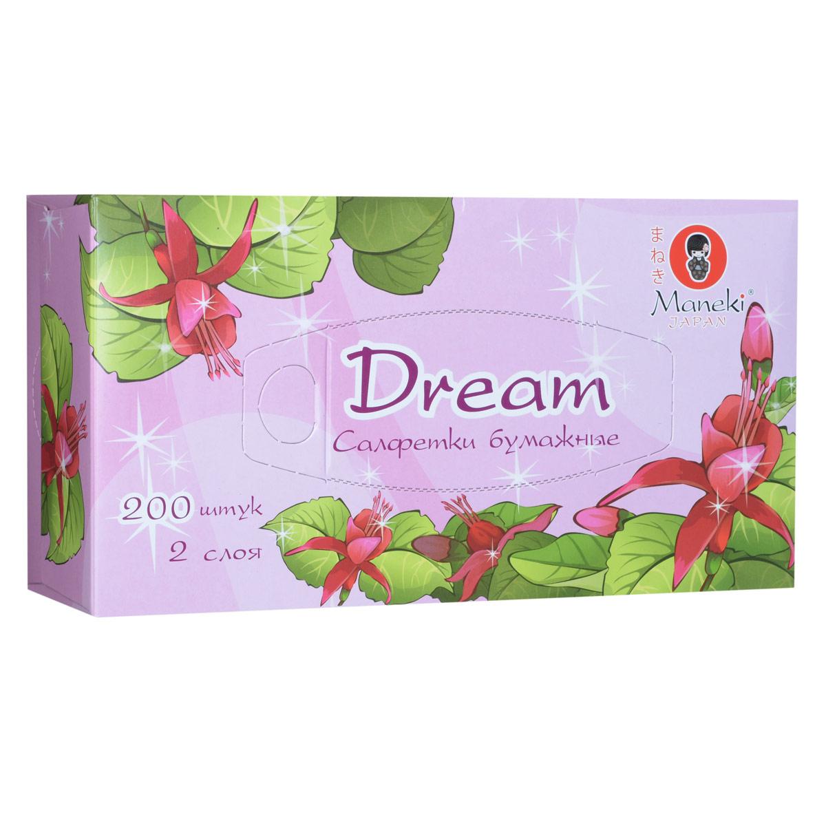 Maneki Салфетки бумажные Dream, двухслойные, цвет: розовый, 200 штFT135Двухслойные бумажные салфетки Maneki Dream, выполненные из натуральной экологически чистой целлюлозы, подарят превосходный комфорт и ощущение чистоты и свежести. Салфетки упакованы в коробку, поэтому их удобно использовать дома или взять с собой в офис или машину. Не содержат хлор.