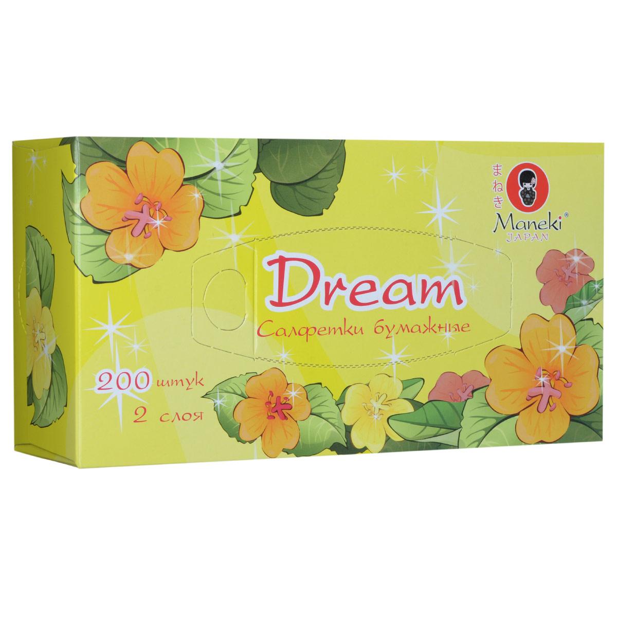 Maneki Салфетки бумажные Dream, двухслойные, цвет: желтый, 200 штFT135Двухслойные бумажные салфетки Maneki Dream, выполненные из натуральной экологически чистой целлюлозы, подарят превосходный комфорт и ощущение чистоты и свежести. Салфетки упакованы в коробку, поэтому их удобно использовать дома или взять с собой в офис или машину. Не содержат хлор.
