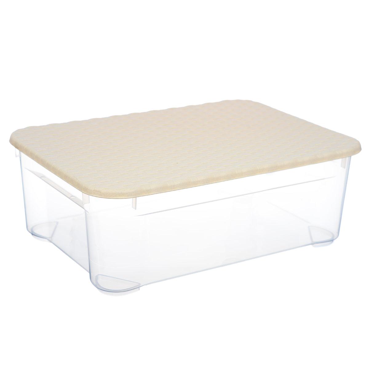 Ящик с крышкой Econova Ротанг, цвет: бежевый, прозрачный, 55,5 см х 39 см х 19 смС12813 бежевыйПрямоугольный ящик Econova Ротанг выполнен из высококачественного прозрачного пластика. Ящик плотно закрывается крышкой и оснащен ручками. Ящик Econova Ротанг очень вместителен и поможет вам хранить все необходимые мелочи в одном месте.