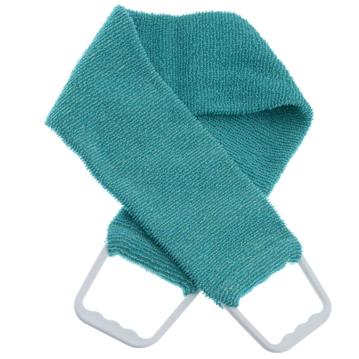 Мочалка 927, цвет: бирюзовый927 бирюзовыйДвухсторонняя мочалка-пояс Riffi применяется для мытья тела, отлично действует как пилинговое средство, тонизируя, массируя и эффективно очищая вашу кожу. Мягкой стороной хорошо намыливать тело и наносить косметические средства после душа. Жесткую (с люрексом) сторону пояса используют для легкого пилинга и массажа кожи. Для удобства применения пояс снабжен двумя пластиковыми ручками. Благодаря отшелушивающему эффекту мочалки-пояса, кожа освобождается от отмерших клеток, становится гладкой, упругой и свежей. Интенсивный и пощипывающе свежий массаж тела с применением Riffi стимулирует кровообращение, активирует кровоснабжение, способствует обмену веществ, что в свою очередь позволяет себя чувствовать бодрым и отдохнувшим после принятия душа или ванны. Riffi регенерирует кожу, делает ее приятно нежной, мягкой и лучше готовой к принятию косметических средств. Приносит приятное расслабление всему организму. Борется со спазмами и болями в мышцах, предупреждает образование...