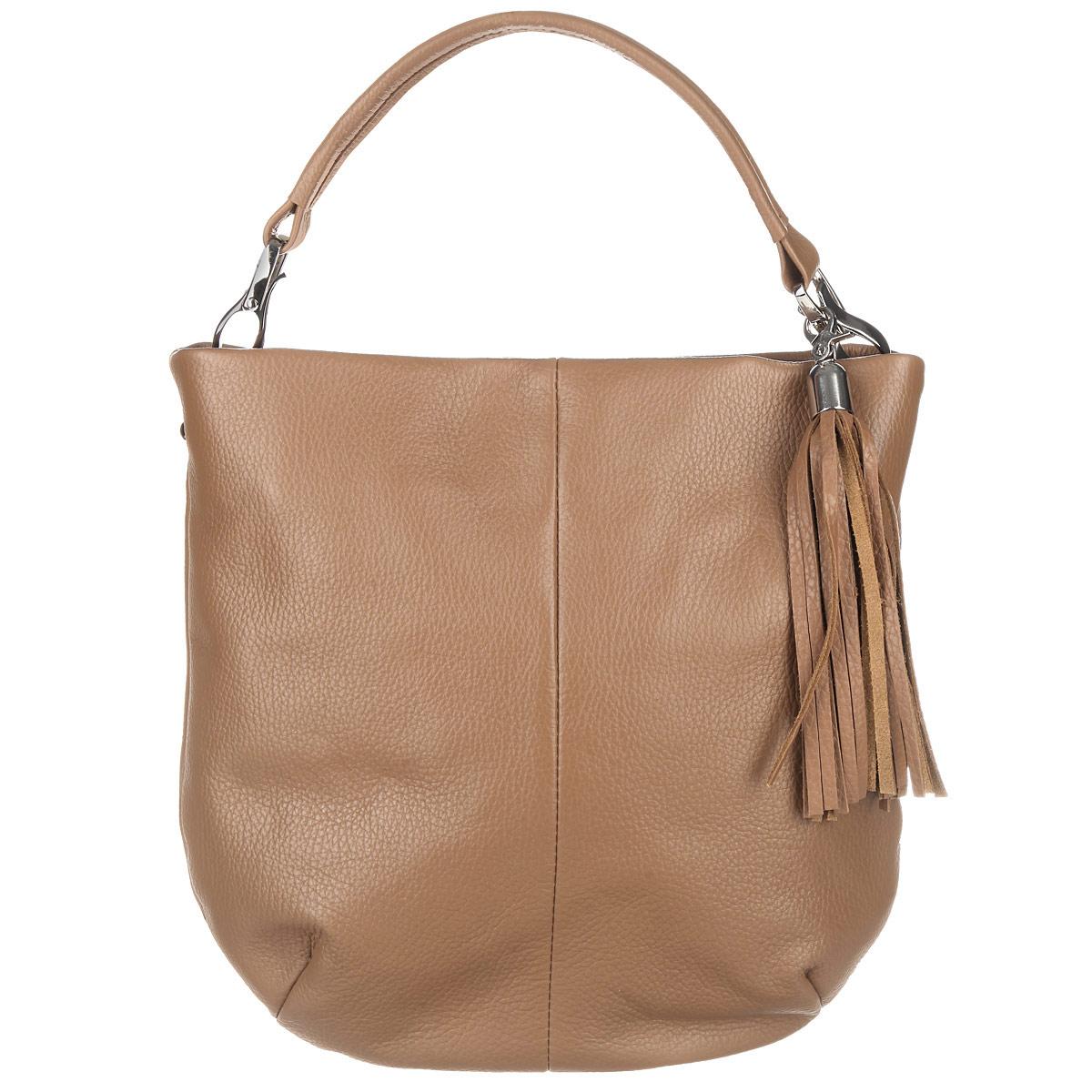Сумка женская Afina, цвет: кэмел. 863863Изысканная женская сумка Afina выполнена из мягкой натуральной кожи. Превосходно подойдёт к повседневным образам. Сумка закрывается на пластиковую застежку-молнию. Внутри - большое отделение, небольшой врезной кармашек на застежке-молнии и два накладных кармашка для телефона, мелочей. На внешней оборотной стороне - дополнительный врезной карман на застежке-молнии. Сумка оснащена отстегивающейся ручкой для ношения в руке или на локтевом сгибе. В комплекте съемный плечевой ремень регулируемой длины и декоративный брелок, который также можно снимать или перемещать на другую сторону сумки. Роскошная сумка внесет элегантные нотки в ваш образ и подчеркнет ваше отменное чувство стиля.