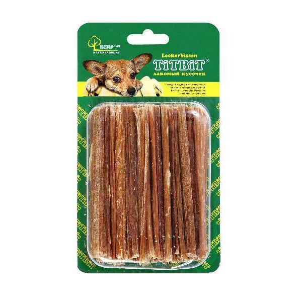 Лакомство для собак Titbit, говяжьи кишки, 40 г9069Лакомство для собак Titbit - это легкоусвояемое лакомство, богатое витаминами и ферментами микрофлоры кишечника крупного рогатого скота. Имеет большую энергетическую ценность из-за повышенного содержания жира. Богаты перевариваемыми протеинами, которые содержат все незаменимые аминокислоты и потому усваиваются на 90-95%. Содержит минеральные вещества в большем количестве, чем все остальные продукты (в том числе кальций, магний и фосфор), жирорастворимые витамины, а также водорастворимые витамины. Очищает зубы у мелких пород собак, продукт полезен для стимуляции пищеварения. Состав: высушенные говяжьи кишки. Товар сертифицирован.