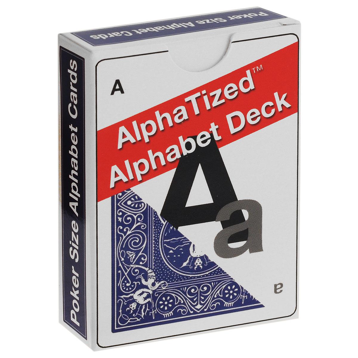 Карты для фокусов Lee Earl Алфавит, цвет: синий, белый, 54 штК-379Карты для фокусов Lee Earl Алфавит изготовлены из многослойного картона со специальным пластиковым покрытием, которое обеспечивает хорошее скольжение и жесткость, а также сохраняет карты от выцветания и изнашивания. Карты стандартного покерного размера и дизайна. Колода маркированная, и вы всегда сможете узнать по рубашке, какая буква скрыта за ней. Колода состоит из 54 карт. На 26 картах напечатаны черные заглавные буквы, 26 остальных серого цвета. Алфавитную колоду в последнее время было найти гораздо труднее, чем честного политика! Но теперь они снова доступны. Карты имеют прекрасное качество, изготовлены на заводе USPCC.