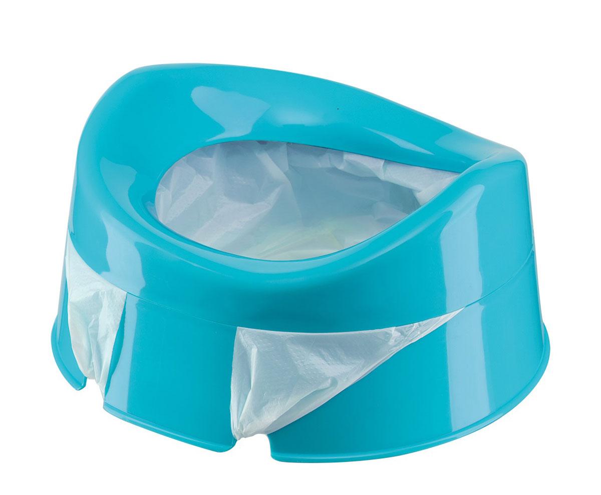 Happy Baby Горшок дорожный Mini Potty с одноразовыми пакетами цвет голубой 34004 blue