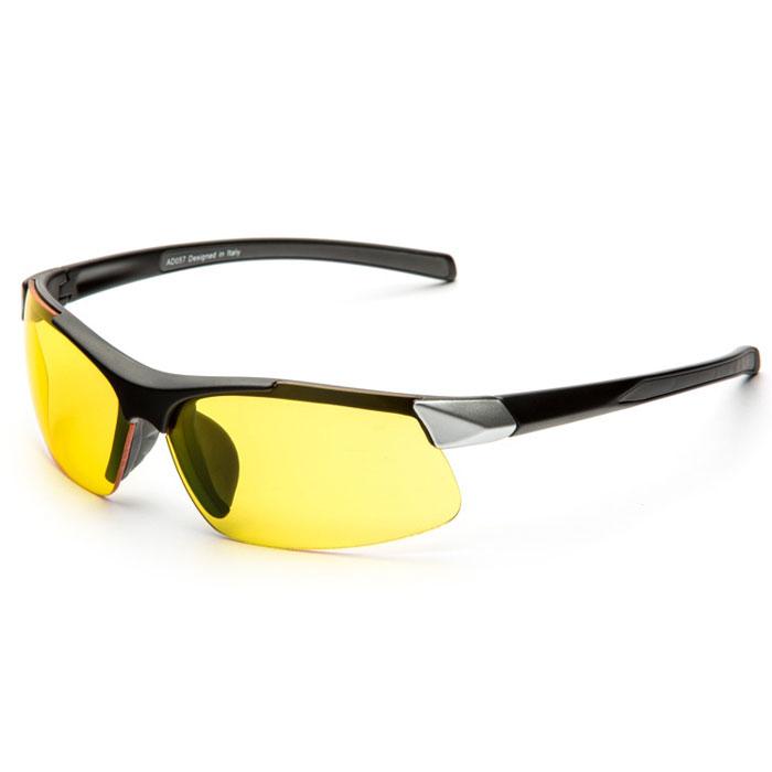 SP Glasses AD057 Premium, Black Silver водительские очкиAD057SP Glasses AD057 Premium - релаксационные комбинированные очки для активного отдыха с желтым светофильтром. Они улучшают видимость, повышают контрастность в вечернее и ночное время, туман, дождь, а также защищают от ослепления фарами встречных автомобилей. Отлично показывают себя в условиях плохой видимости. Наносники: нерегулируемые