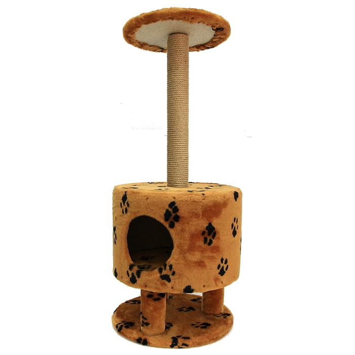 Домик для кошек Пушок, круглый, 42 см х 42 см х 98 см4640000931117Большой, уютный домик Пушок с когтеточкой и ступенькой отлично подойдет для котят и взрослых кошек. Такой домик станет не только идеальным местом для подвижных игр вашего любимца, но и местом для отдыха. Благодаря столбику-когтеточке, обернутой веревками из сизаля, ваша кошка удовлетворит природную потребность точить когти, что поможет сохранить вашу мебель и ковры. Для приучения любимца к когтеточке можно натереть ее сухой валерьянкой или кошачьей мятой.