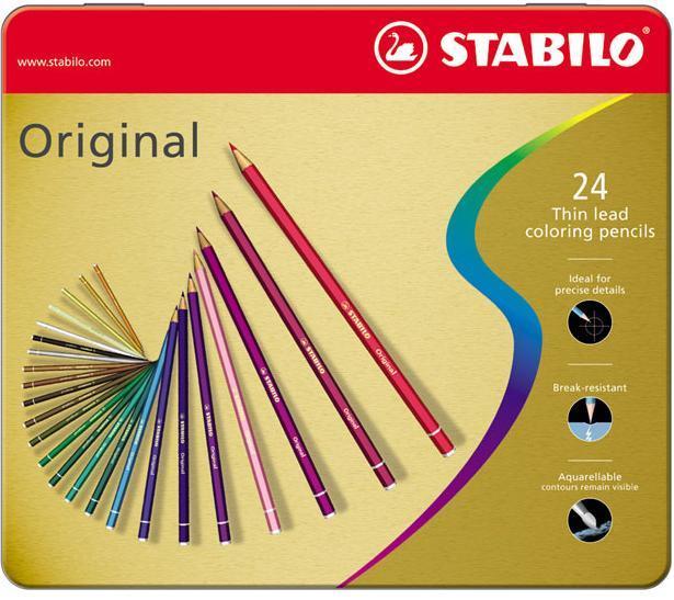 Набор цветных карандашей с тонким грифелем STABILO Original для графиков, художников 24 цв, металлический футляр 8774-6