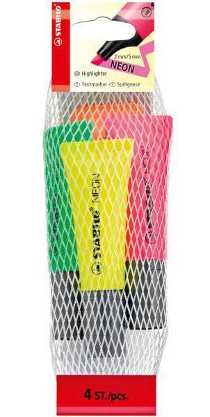 Текстовыделитель STABILO NEON 4шт в сетке-блистере, цвет: желтый, зеленый, оранжевый, розовый. 72/4-1