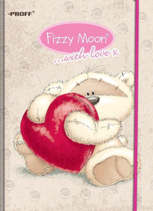 Записная книжка B6 80 листов в клетку Proff. Fizzy Moon тонир. офсет/твердая обложка из ткани на резинке/ цветная печать/ляссеFM15-NBF680