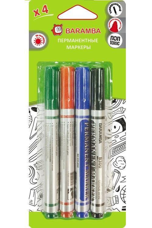 Набор перманентных маркеров. УНИВЕРСАЛЬНЫЕ, пишут на ВСЕХ гладких ПОВЕРХНОСТЯХ блистерная упаковка.BM0034