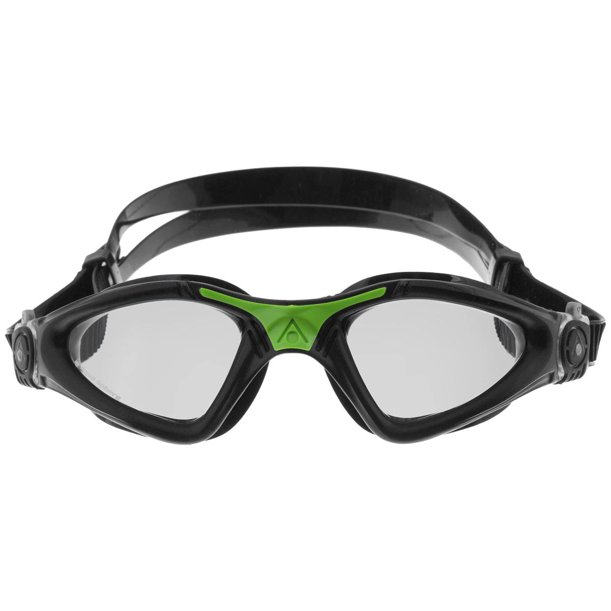 Очки для плавания Aqua Sphere Kayenne, прозрачные линзы, цвет: черный, зеленыйTN 170800Модные и стильные очки для плавания Aqua Sphere Kayenne идеально подходят для плавания в бассейне или открытой воде. Оснащены линзами с антизапотевающим покрытием, которые устойчивы к появлению царапин. Мягкий комфортный обтюратор плотно прилегает к лицу. Запатентованные изогнутые линзы дают прекрасный обзор на 180° - без искажений. Рамка имеет гидродинамическую форму. Очки оснащены удобными быстрорегулируемыми пряжками. Материал: софтерил, plexisol.