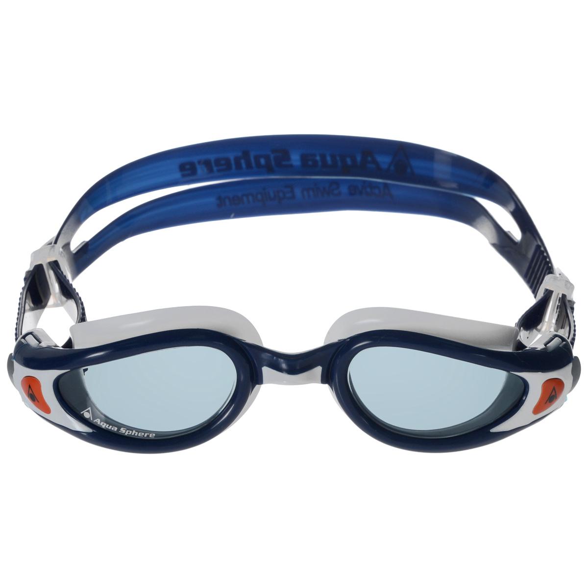 """Очки для плавания Aqua Sphere """"Kaiman Exo"""", прозрачные линзы, цвет: синий, белый"""