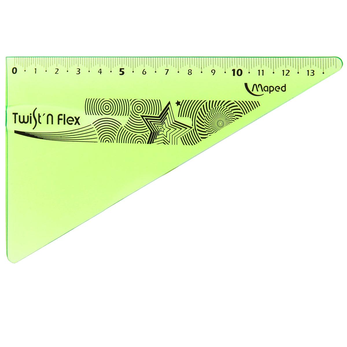 Угольник Maped Twist-n-Flex, неломающийся, 14 см, цвет: салатовый279410_салатовыйГибкий неломающийся угольник Maped - это не только необходимый в учебе предмет, но и легкий способ привлечь ребенка к процессу обучения. Выполнен из прозрачного цветного пластика с ровной четкой миллиметровой шкалой делений до 14 см. Характеристики: Длина: 14 см. Угол: 60 градусов.