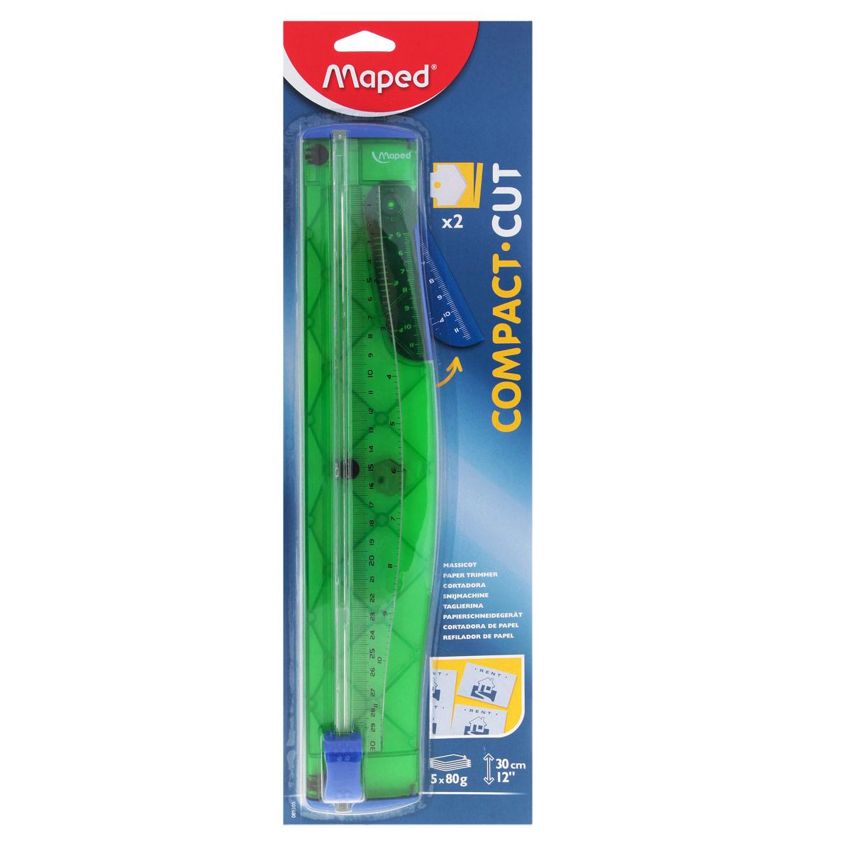 Мини-резак для бумаги Maped Compact, цвет: зеленый89300_зеленыйПрактичный мини-резак для бумаги Compact для бумаги формата А4 с нескользящей основой удобен в использовании и снабжен полупрозрачной градуированной линейкой в сантиметрах и дюймах. Мини-резак предназначен для качественной резки листовых материалов. В комплект входит запасной нож.
