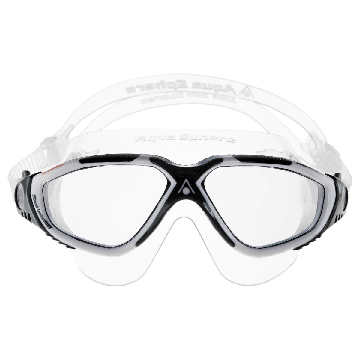 Очки для плавания Aqua Sphere Vista, темные линзы, цвет: белый, черныйTN 172670Очки Aqua Sphere Vista имеют исключительно малую парусность, что минимизирует вероятность их сползания во время плавания. Кристально прозрачные полукруглые линзы обеспечивают обзор 180°. Очки дают 100% защиту от ультрафиолетового излучения. Специальное покрытие препятствует запотеванию стекол. Материал: силикон, plexisol.