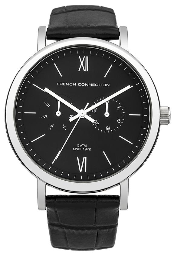Часы наручные мужские French Connection, цвет: стальной, черный. FC1223BBFC1223BBСтильные мужские наручные часы French Connection идеально подойдут для человека, ценящего качественные и практичные вещи. Корпус выполнен из нержавеющей стали серебристого цвета. Циферблат изделия оформлен римскими цифрами, отметками, часовой, минутной, секундной стрелками, и дополнен логотипом French Connection. Часы оснащены кварцевым механизмом 6P25, устойчивым к царапинам минеральным стеклом, функцией отображения дня недели и индикатора даты. Модель обладает степенью влагозащиты 5 atm. Изделие дополнено ремешком из натуральной кожи с фактурным тиснением, позволяющим максимально комфортно и быстро снимать и одевать часы при помощи пряжки. Часы поставляются на специальной подушечке в стильной коробке с логотипом French Connection. Такие часы подойдут для мужчин, которые ценят удобство и комфорт.