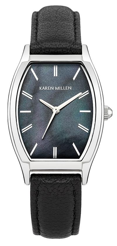 Часы наручные женские Karen Millen, цвет: стальной, черный. KM151BKM151BВеликолепные женские наручные часы Karen Millen выполнены из нержавеющей стали. Циферблат изделия оформлен отметками, часовой, минутной и секундной стрелками. Также циферблат дополнен логотипом Karen Millen. Часы оснащены кварцевым механизмом, устойчивым к царапинам минеральным стеклом. Модель обладает степенью влагозащиты 5 atm. Изделие дополнено ремешком из натуральной кожи, позволяющим максимально комфортно и быстро снимать и одевать часы при помощи пряжки. Часы поставляются на специальной подушечке в стильной коробке с логотипом Karen Millen. Стильные часы заставят окружающих обратить на вас внимание.