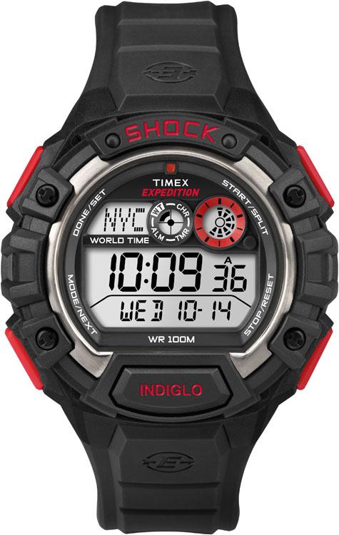 Часы наручные мужские Timex Expedition World Shock, цвет: черный, красный, серый. T49973T49973Стильные мужские наручные часы Timex Expedition World Shock с противоударным корпусом, выполнены из пластика. Изделие имеет электронный циферблат. Часы оснащены кварцевым механизмом, устойчивым к царапинам пластиковым стеклом и подсветкой циферблата Indiglo. Также часы оснащены индикатором дня, месяца и дня недели, таймером обратного отсчета, функцией мирового времени, сплит-хронографом на 100 часов с памятью на 30 кругов и будильником с функцией Snooze. Модель обладает степенью влагозащиты 10 atm. Изделие дополнено ремешком из каучука, позволяющим максимально комфортно и быстро снимать и одевать часы при помощи пряжки. Часы поставляются в фирменной коробке. Функциональные часы в спортивном стиле для мужчин, уверенных в своих силах.