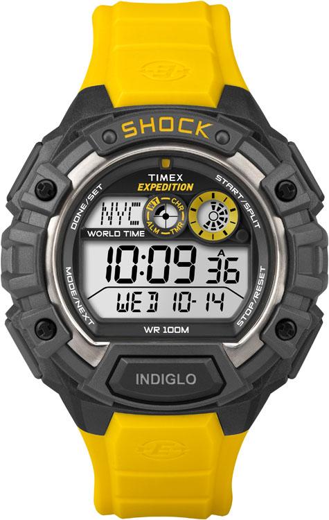 Часы наручные мужские Timex Expedition Shock, цвет: черный, желтый, серый. T49974T49974Стильные мужские наручные часы Timex Expedition Shock с противоударным корпусом, выполнены из пластика. Изделие имеет электронный циферблат. Часы оснащены кварцевым механизмом, устойчивым к царапинам пластиковым стеклом и подсветкой циферблата Indiglo. Также часы оснащены индикатором дня, месяца и дня недели, таймером обратного отсчета, функцией отображения мирового времени, сплит-хронографом на 100 часов с памятью на 30 кругов и будильником с функцией Snooze. Модель обладает степенью влагозащиты 10 atm. Изделие дополнено ремешком из каучука, позволяющим максимально комфортно и быстро снимать и одевать часы при помощи пряжки. Часы поставляются в фирменной коробке. Функциональные часы в спортивном стиле для мужчин, уверенных в своих силах.