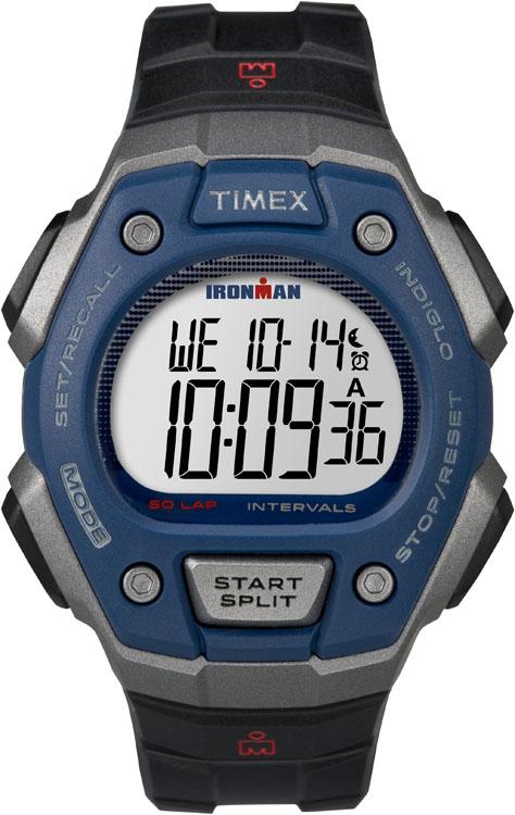 Часы наручные мужские Timex Classic 50, цвет: черный, серый, синий. TW5K86000TW5K86000Стильные мужские наручные часы Timex Classic 50 - это выбор стильных и активных людей. Корпус выполнен из прочного пластика. Изделие имеет электронный циферблат. Часы оснащены кварцевым механизмом, устойчивым к царапинам пластиковым стеклом и подсветкой циферблата Indiglo. Также часы оснащены индикатором дня, месяца и дня недели, сплит-хронографом с памятью на 50 кругов, таймером интервальных тренировок, вторым часовым поясом и будильником. Модель обладает степенью влагозащиты 10 atm. Изделие дополнено ремешком из каучука, позволяющим максимально комфортно и быстро снимать и одевать часы при помощи пряжки. Часы поставляются в фирменной коробке. Современный дизайн в спортивном стиле отлично дополнит вашу утреннюю пробежку, а надежность и чувство комфорта сделает ее просто незабываемой.