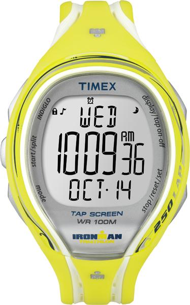 Часы наручные мужские Timex Ironman Sleek 250, цвет: желтый, белый, серый. T5K789T5K789Яркие мужские наручные часы Timex Ironman Sleek 250 предназначены для активных людей. Корпус изделия выполнен из прочного пластика. Часы оснащены кварцевым механизмом и электронным циферблатом. Акриловое стекло устойчиво к царапинам. Часы оснащены функцией отображения текущего числа, месяца, дня недели, второго часового пояса, секундомером и будильником. Модель оснащена сплит-хронографом на 100 часов, с памятью на 250 кругов, 8 маркированных интервальных таймеров, с понятными обозначениями - warm (разогрев), slow (медленный), med (средний), fast (быстрый) и cool (остывание). Функция TapScreen позволяет при простом касании стекла отмечать отрезки. Часы имеют встроенную систему напоминаний, память на 5 тренировок и подсветку Indiglo. Модель обладает степенью влагозащиты 100 atm. Изделие дополнено ремешком из силикона, позволяющим максимально комфортно и быстро снимать и одевать часы при помощи пряжки. Часы поставляются в фирменной коробке. ...