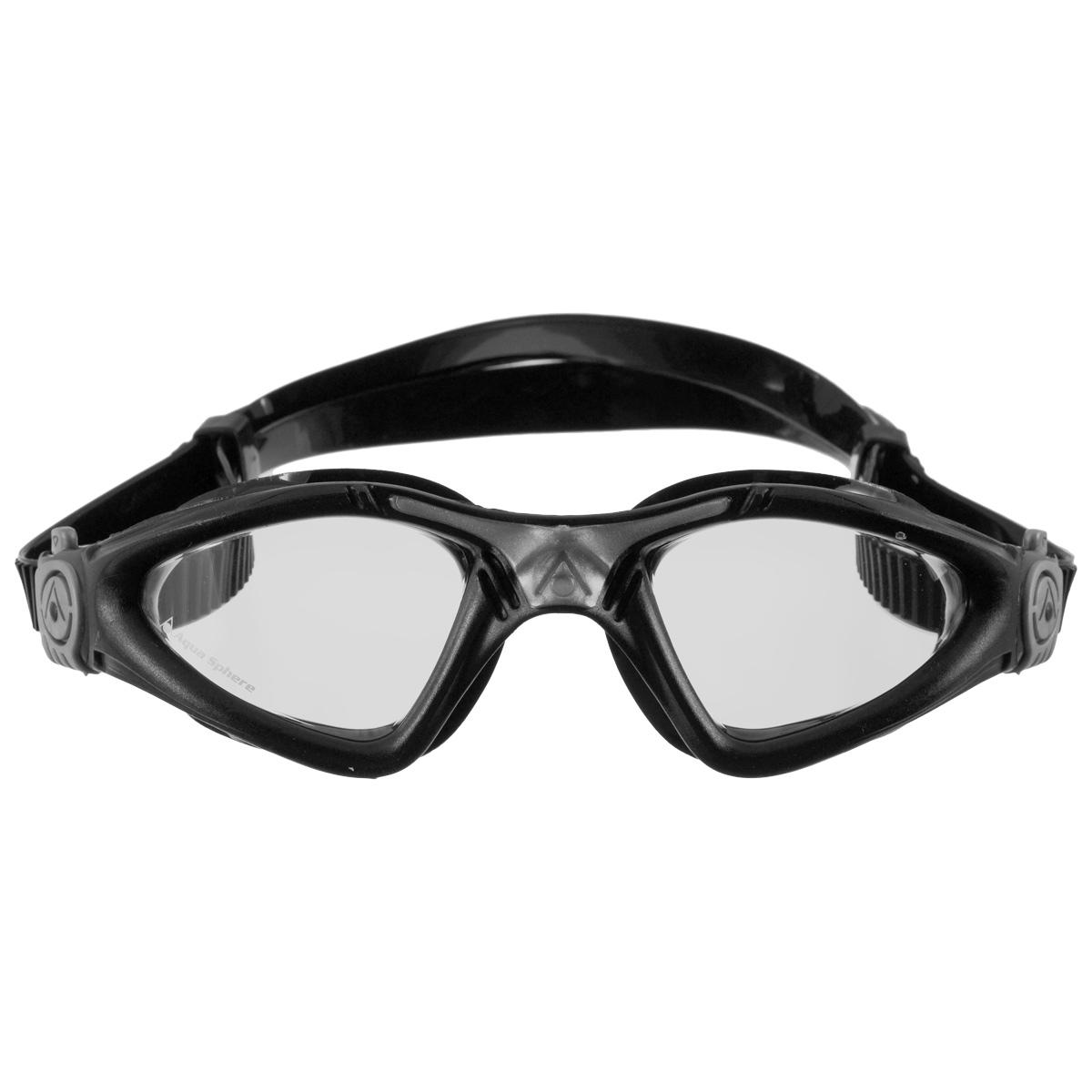"""Очки для плавания Aqua Sphere """"Kayenne"""", прозрачные линзы, цвет: серебристый, черный"""