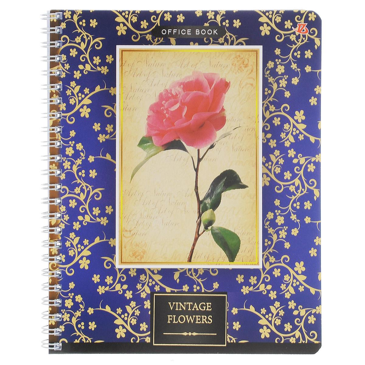 Тетрадь в клетку Vintage Flowers: Роза, на гребне, цвет: синий, 80 листов. 6660/36660/3_РозаТетрадь на гребне Vintage Flowers: Роза подойдет для любых работ и студенту, и школьнику. Фактурная обложка тетради с элементами золотого тиснения выполнена из мелованного картона с закругленными углами. Внутренний блок тетради соединен металлической пружиной и состоит из 80 листов высококачественной бумаги повышенной белизны в клетку.