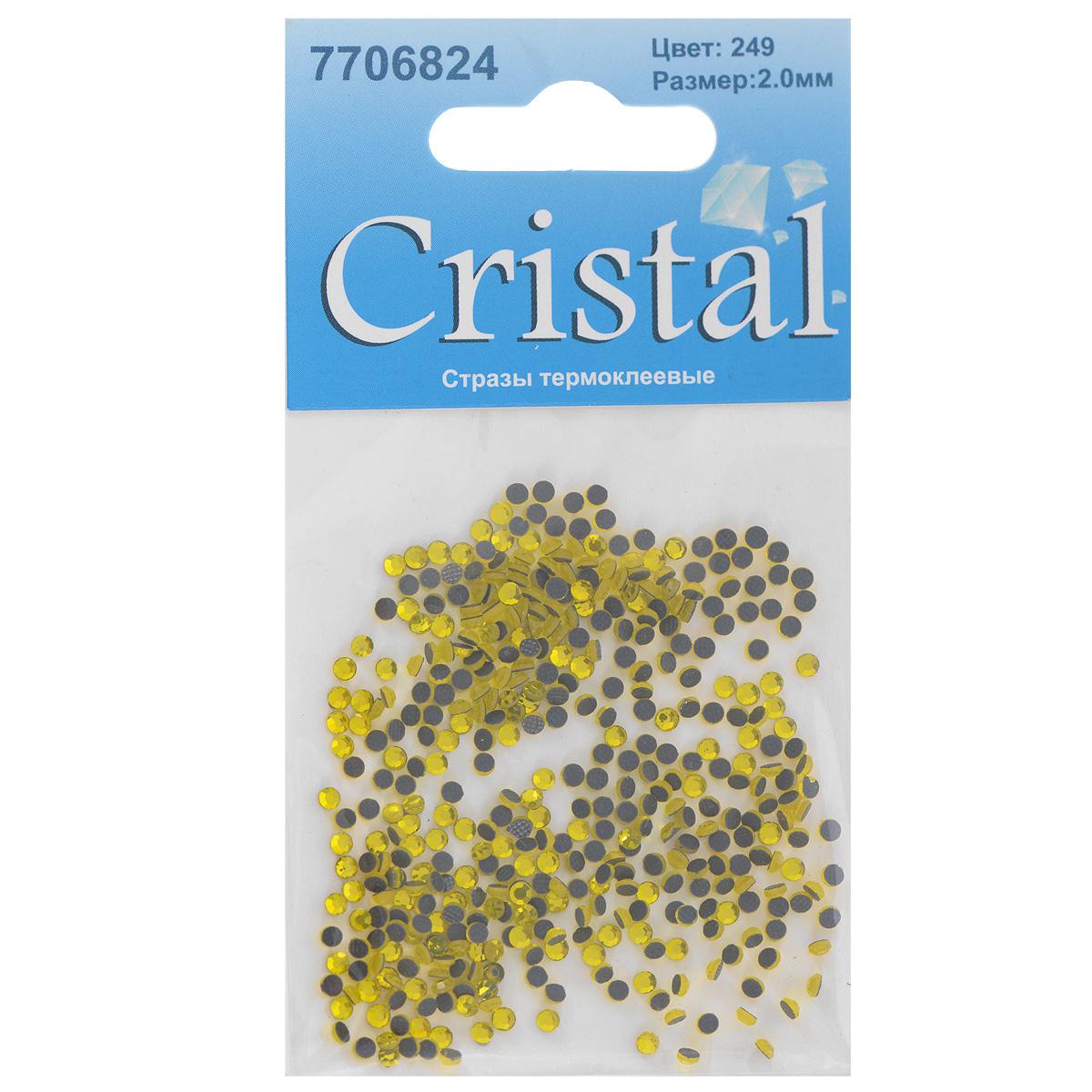 Стразы термоклеевые Cristal, цвет: желтый (249), диаметр 2 мм, 432 шт7706824_249Набор термоклеевых страз Cristal, изготовленный из высококачественного акрила, позволит вам украсить одежду, аксессуары или текстиль. Яркие стразы имеют плоское дно и круглую поверхность с гранями. Дно термоклеевых страз уже обработано особым клеем, который под воздействием высоких температур начинает плавиться, приклеиваясь, таким образом, к требуемой поверхности. Чаще всего их используют в текстильной промышленности: стразы прикладывают к ткани и проглаживают утюгом с обратной стороны. Также можно использовать специальный паяльник. Украшение стразами поможет сделать любую вещь оригинальной и неповторимой. Диаметр страз: 2 мм.