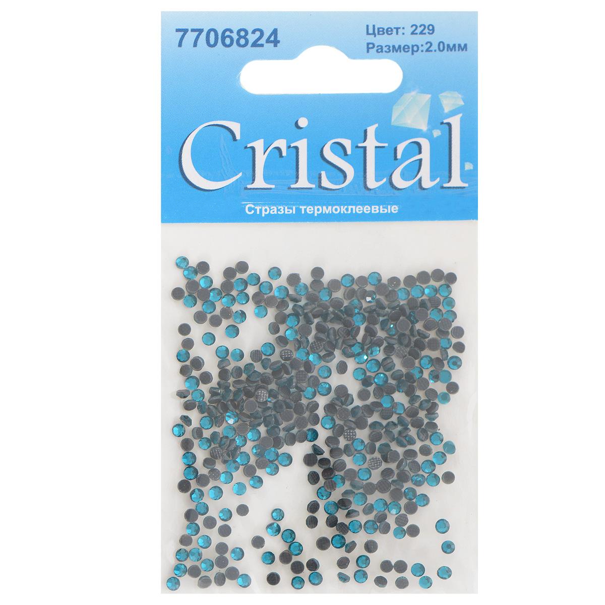 Стразы термоклеевые Cristal, цвет: бирюзовый (229), диаметр 2 мм, 432 шт7706824_229Набор термоклеевых страз Cristal, изготовленный из высококачественного акрила, позволит вам украсить одежду, аксессуары или текстиль. Яркие стразы имеют плоское дно и круглую поверхность с гранями. Дно термоклеевых страз уже обработано особым клеем, который под воздействием высоких температур начинает плавиться, приклеиваясь, таким образом, к требуемой поверхности. Чаще всего их используют в текстильной промышленности: стразы прикладывают к ткани и проглаживают утюгом с обратной стороны. Также можно использовать специальный паяльник. Украшение стразами поможет сделать любую вещь оригинальной и неповторимой. Диаметр страз: 2 мм.