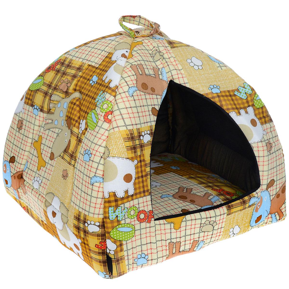 Домик для кошек и собак Гамма, цвет: бежевый, коричневый, 40 см х 40 см х 43 смДг-06000 бежевый, собакиДомик для кошек и собак Гамма обязательно понравится вашему питомцу. Домик предназначен для собак мелких пород и кошек. Изготовлен из хлопковой ткани с красивым принтом, внутри - мягкий наполнитель из мебельного поролона. Стежка надежно удерживает наполнитель внутри и не позволяет ему скатываться. Домик очень удобный и уютный, он оснащен мягкой съемной подстилкой из поролона. Ваш любимец сразу же захочет забраться внутрь, там он сможет отдохнуть и спрятаться. Компактные размеры позволят поместить домик, где угодно, а приятная цветовая гамма сделает его оригинальным дополнением к любому интерьеру. Размер подушки: 39 см х 39 см х 2 см. Внутренняя высота домика: 39 см. Толщина стенки: 2 см. ...
