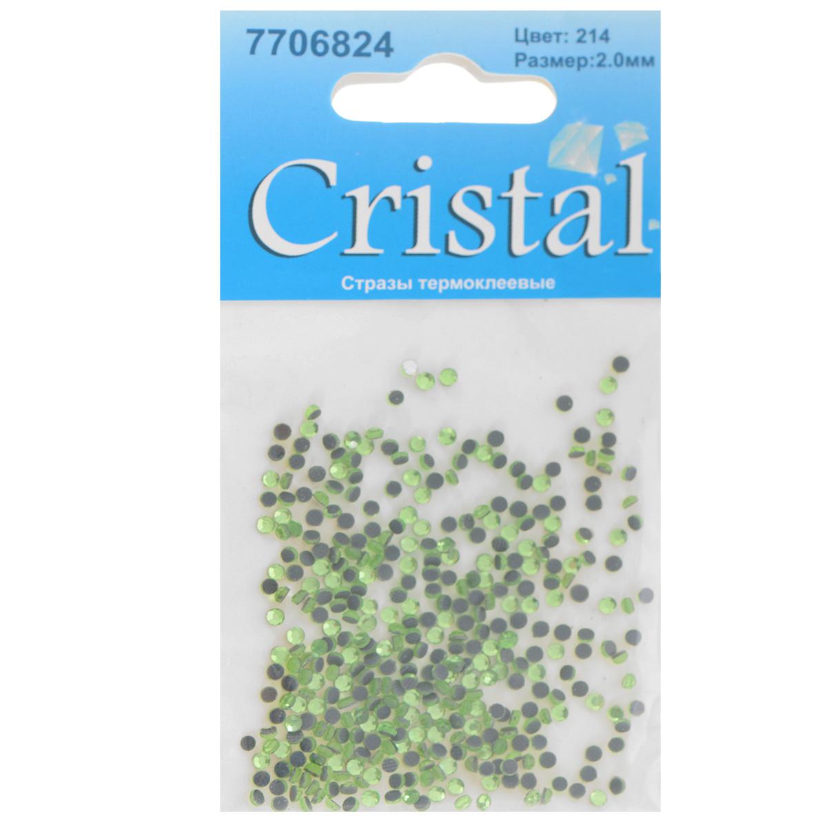 Стразы термоклеевые Cristal, цвет: светло-зеленый (214), диаметр 2 мм, 432 шт7706824_214Набор термоклеевых страз Cristal, изготовленный из высококачественного акрила, позволит вам украсить одежду, аксессуары или текстиль. Яркие стразы имеют плоское дно и круглую поверхность с гранями. Дно термоклеевых страз уже обработано особым клеем, который под воздействием высоких температур начинает плавиться, приклеиваясь, таким образом, к требуемой поверхности. Чаще всего их используют в текстильной промышленности: стразы прикладывают к ткани и проглаживают утюгом с обратной стороны. Также можно использовать специальный паяльник. Украшение стразами поможет сделать любую вещь оригинальной и неповторимой. Диаметр страз: 2 мм.