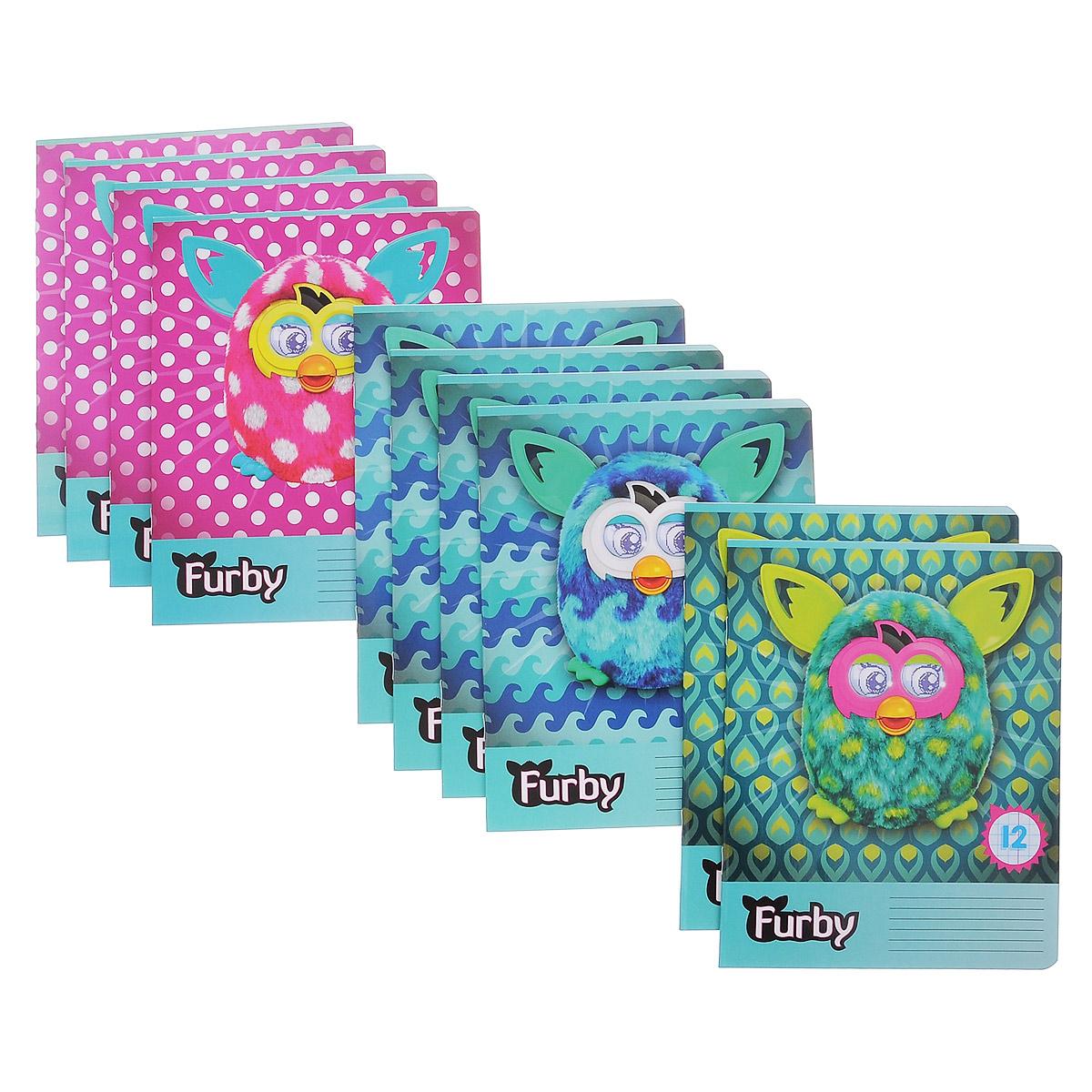 Набор тетрадей в клетку Furby, цвет: бирюзовый, розовый, 12 листов, 10 шт. FB39/5FB39/5_Вид 1Комплект тетрадей Furby включает в себя 10 тетрадей в клетку по 12 листов. Обложка каждой тетради оформлена изображением игрушек Furby. На задней обложке каждой тетради представлена таблица умножения. Внутренний блок тетрадей состоит из 12 листов белой бумаги, соединенных скрепками. Стандартная линовка в клетку дополнена полями, совпадающими с лицевой и оборотной стороны листа. В наборе представлены тетради с тремя вариантами изображений Furby.
