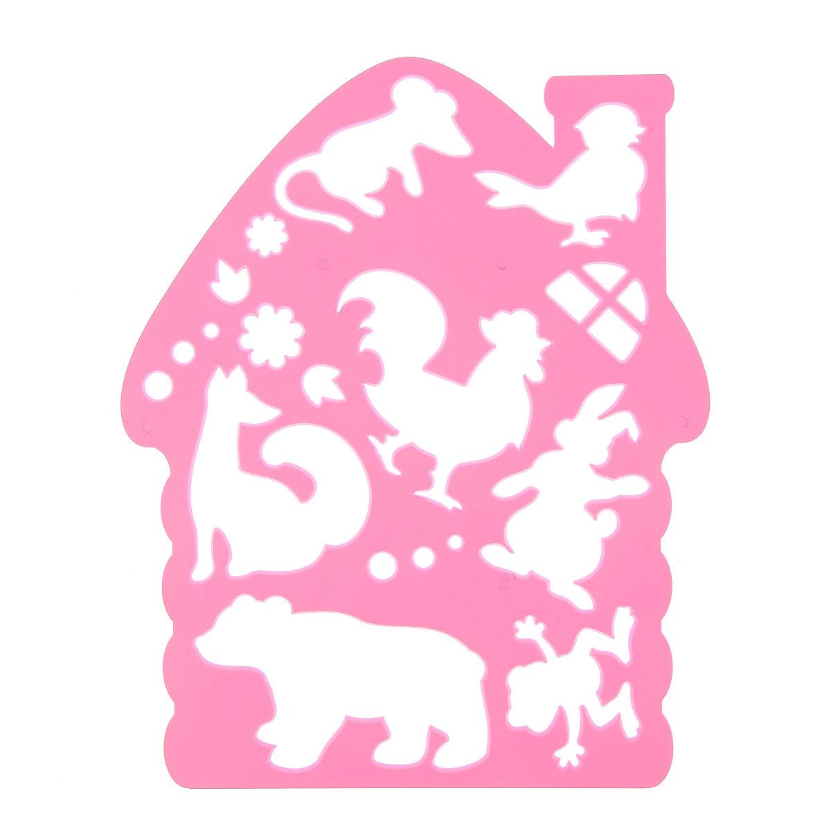 Луч Трафарет фигурный Теремок цвет фуксия