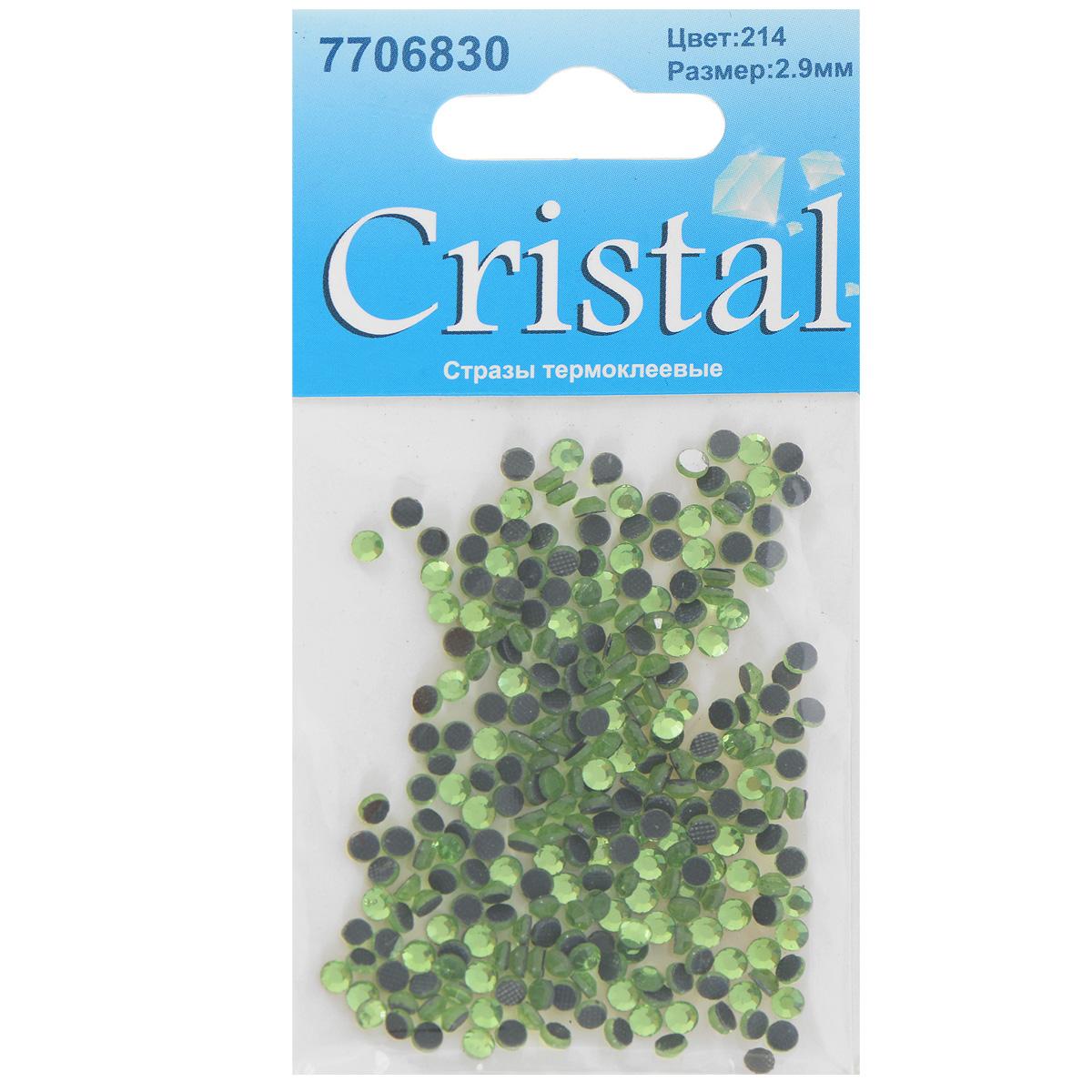 Стразы термоклеевые Cristal, цвет: светло-зеленый (214), диаметр 2,9 мм, 288 шт7706830_214Набор термоклеевых страз Cristal, изготовленный из высококачественного акрила, позволит вам украсить одежду, аксессуары или текстиль. Яркие стразы имеют плоское дно и круглую поверхность с гранями. Дно термоклеевых страз уже обработано особым клеем, который под воздействием высоких температур начинает плавиться, приклеиваясь, таким образом, к требуемой поверхности. Чаще всего их используют в текстильной промышленности: стразы прикладывают к ткани и проглаживают утюгом с обратной стороны. Также можно использовать специальный паяльник. Украшение стразами поможет сделать любую вещь оригинальной и неповторимой. Диаметр страз: 2,9 мм.