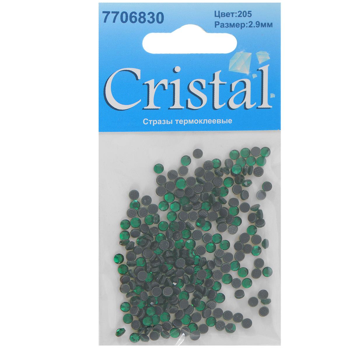 Стразы термоклеевые Cristal, цвет: зеленый (205), диаметр 2,9 мм, 288 шт7706830_205Набор термоклеевых страз Cristal, изготовленный из высококачественного акрила, позволит вам украсить одежду, аксессуары или текстиль. Яркие стразы имеют плоское дно и круглую поверхность с гранями. Дно термоклеевых страз уже обработано особым клеем, который под воздействием высоких температур начинает плавиться, приклеиваясь, таким образом, к требуемой поверхности. Чаще всего их используют в текстильной промышленности: стразы прикладывают к ткани и проглаживают утюгом с обратной стороны. Также можно использовать специальный паяльник. Украшение стразами поможет сделать любую вещь оригинальной и неповторимой. Диаметр страз: 2,9 мм.
